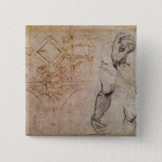 Scheme for the Sistine Chapel Ceiling, c.1508 Pinback Button