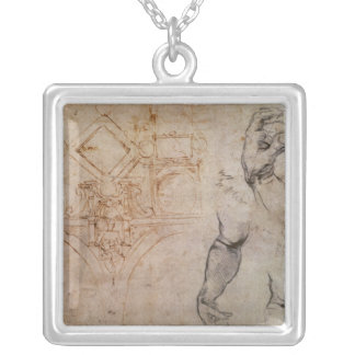 Scheme for the Sistine Chapel Ceiling, c.1508 Silver Plated Necklace