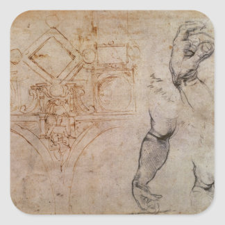Scheme for the Sistine Chapel Ceiling, c.1508 Square Sticker
