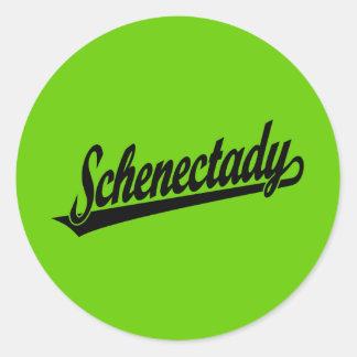 Schenectady script logo in black classic round sticker