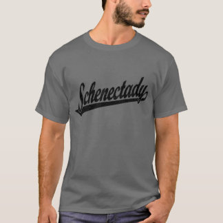 Schenectady script logo in black distressed T-Shirt