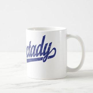 Schenectady script logo in blue distressed coffee mugs