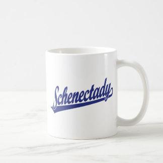 Schenectady script logo in blue mug