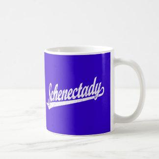 Schenectady script logo in white distressed mug