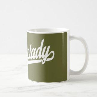 Schenectady script logo in white coffee mug