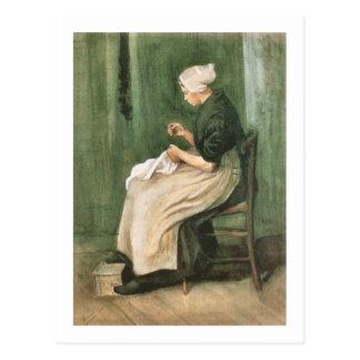 Scheveningen Woman Sewing, Van Gogh Fine Art Postcard