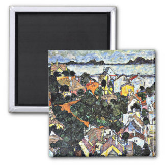 Schiele - Summer Landscape, Krumau 2 Inch Square Magnet