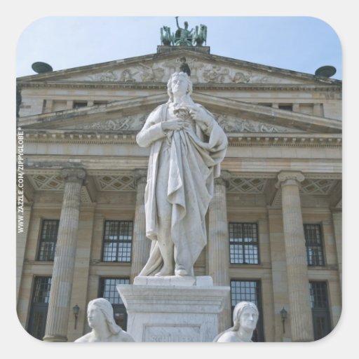 Schiller Statue in Berlin Square Sticker