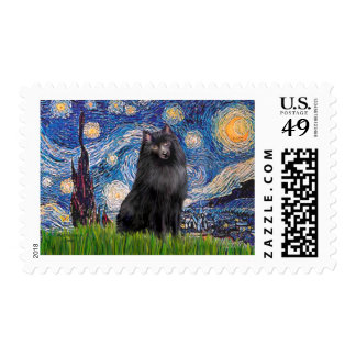 Schipperke 2 - Starry Night Postage Stamp