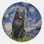 Schipperke 5 - Starry Night Classic Round Sticker