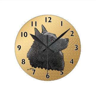 Schipperke Art Round Clock