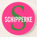 Schipperke Breed Monogram Design Sandstone Coaster