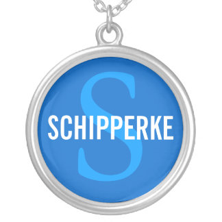 Schipperke Breed Monogram Design Silver Plated Necklace