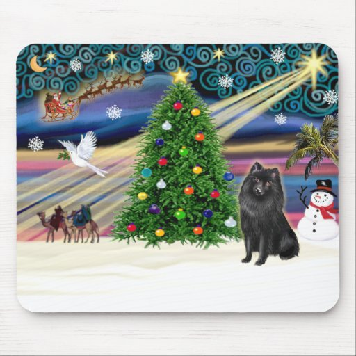 Schipperke de la magia del navidad tapete de ratón