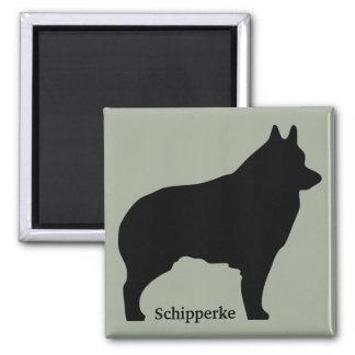Schipperke dog silhouette 2 inch square magnet