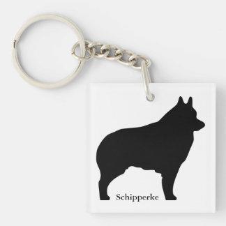 Schipperke dog silhouette keychain