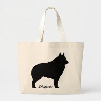 Schipperke dog silhouette large tote bag