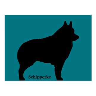 Schipperke dog silhouette postcard