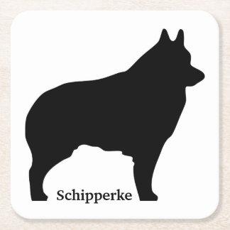 Schipperke dog silhouette square paper coaster