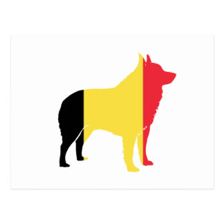 Schipperke flag silhouette postcard