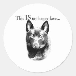 Schipperke Happy Face Classic Round Sticker