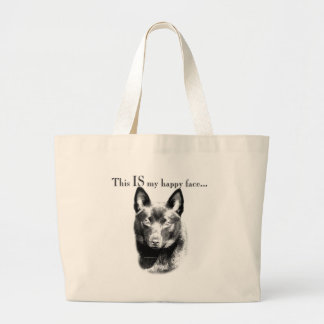 Schipperke Happy Face Large Tote Bag