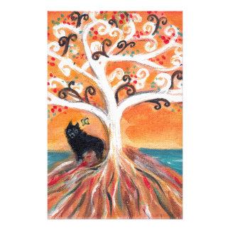 Schipperke love spiritual tree beauty of orange stationery