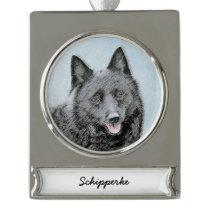 Schipperke Painting - Cute Original Dog Art Silver Plated Banner Ornament