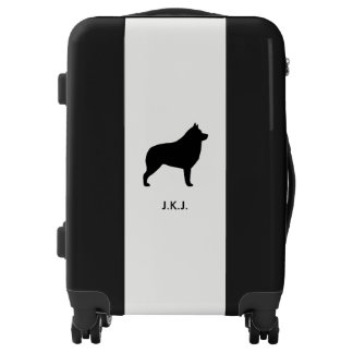 Schipperke Silhouette with Custom Text Luggage
