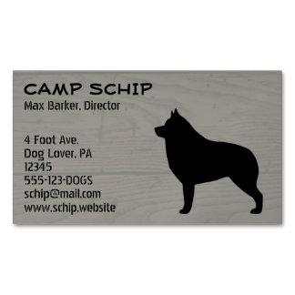Schipperke Silhouette Wood Grain Magnetic Business Card