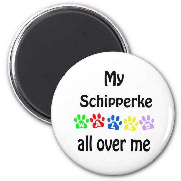 Schipperke Walks Design 2 Inch Round Magnet
