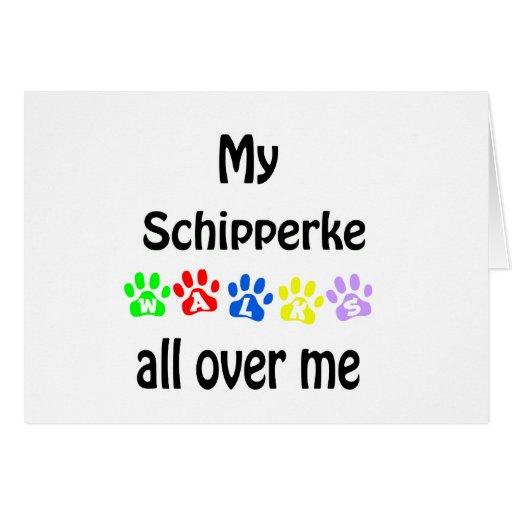Schipperke Walks Design Greeting Card