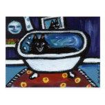 Schipperke whimsical bath postcards