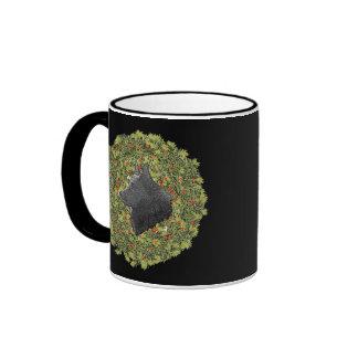 Schipperke Wreath Ringer Coffee Mug