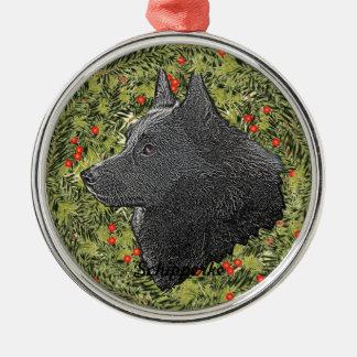 Schipperke Wreath Round Metal Christmas Ornament