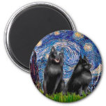Schipperkees (two,5&6) - Starry Night 2 Inch Round Magnet
