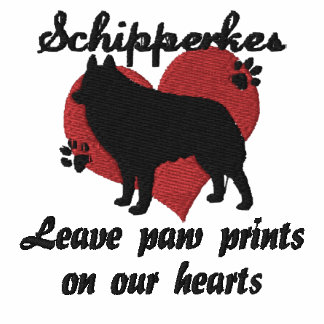 Schipperkes Leave Paw Prints Embroidered Shirt