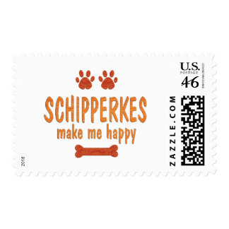 Schipperkes Make Me Happy Stamp