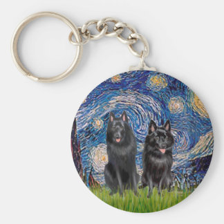 Schipperkes (two) - Starry Night Keychain