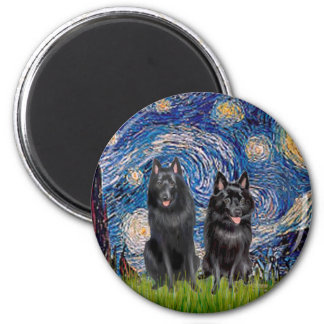 Schipperkes (two) - Starry Night Magnet
