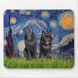 Schipperkes (two) - Starry Night Mouse Pad