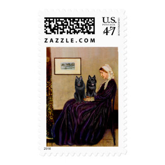 Schipperkes (two) - Whsitlers Mother Postage Stamp