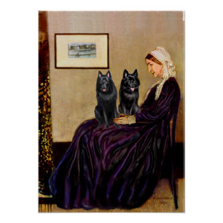 Schipperkes (two) - Whsitlers Mother Print