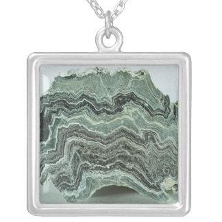 Schist rock square pendant necklace