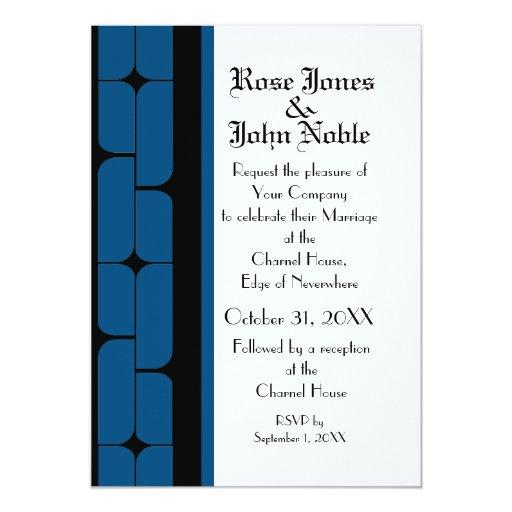 Schizm Ebony (Blue) Wedding Invitation