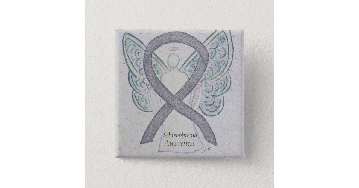 Schizophrenia Awareness Ribbon Angel Custom Pins | Zazzle com