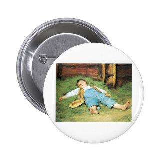 Schlafender Knabe im Heu Boy Sleeping in Hay 2 Inch Round Button