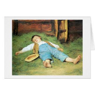 Schlafender Knabe im Heu Boy Sleeping in Hay Card