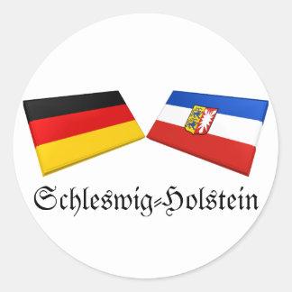 Schleswig-Holstein, Germany Flag Tiles Classic Round Sticker
