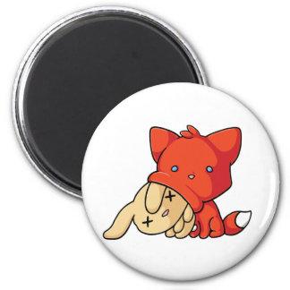 SCHLUP Fox Eating Rabbit 2 Inch Round Magnet